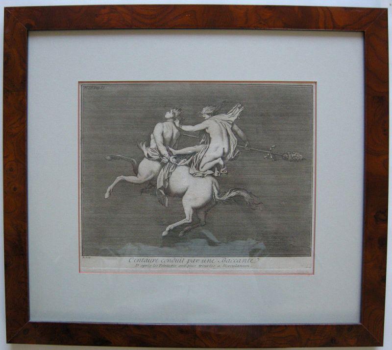 Jean Barbault (1718-1762) Centaur Bachantin Herculanum Orig Kupferstich 1761
