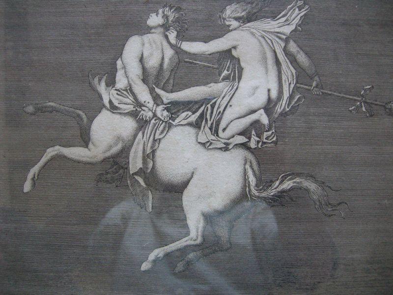 Jean Barbault (1718-1762) Centaur Bachantin Herculanum Orig Kupferstich 1761 2