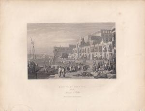 Malta La Valetta Hafen Marina Port Orig Steel engraving 1850 S. Prout Finden