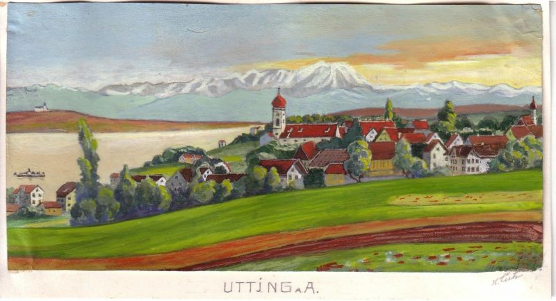 Ammersee Utting Orig. Gouache signiert H. Lütz 1960