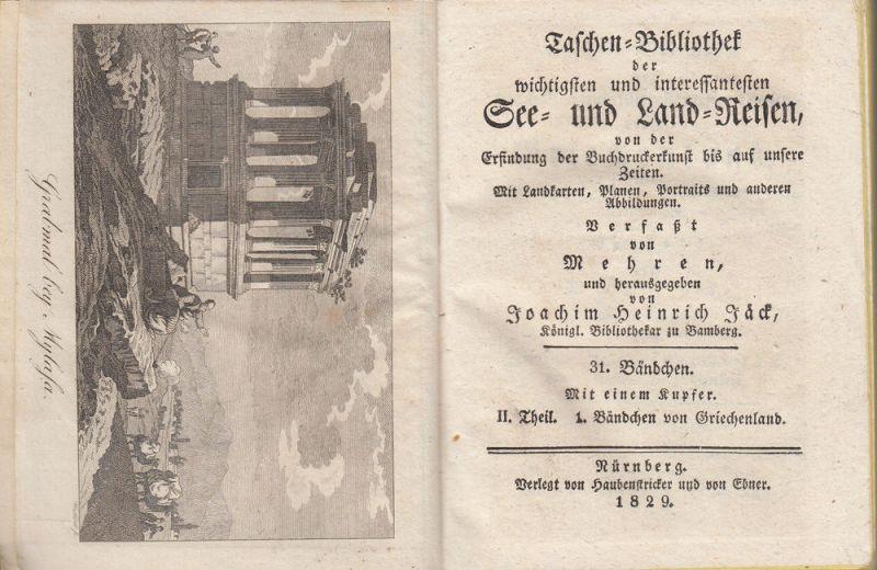 Jäck Reisen durch Griechenland 3 Bände 1828-1831 9 Kupfertafeln 7
