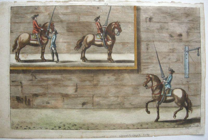 Nicolas Schurtz Reiterspiel Reitlehre kolor Kupferstich 1678 Ritterspiele
