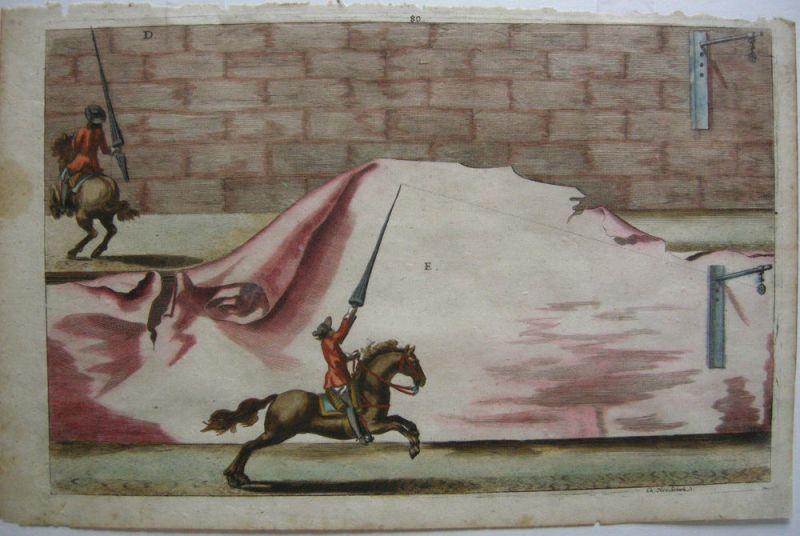 Nicolas Schurtz Reiterspiel Reitkunst kolor Kupferstich 1678 Ritterspiele