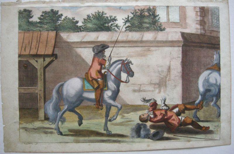Nicolas Schurtz Reiterspiel Reitlehre kolor Kupferstich 1678 Dressurunterricht