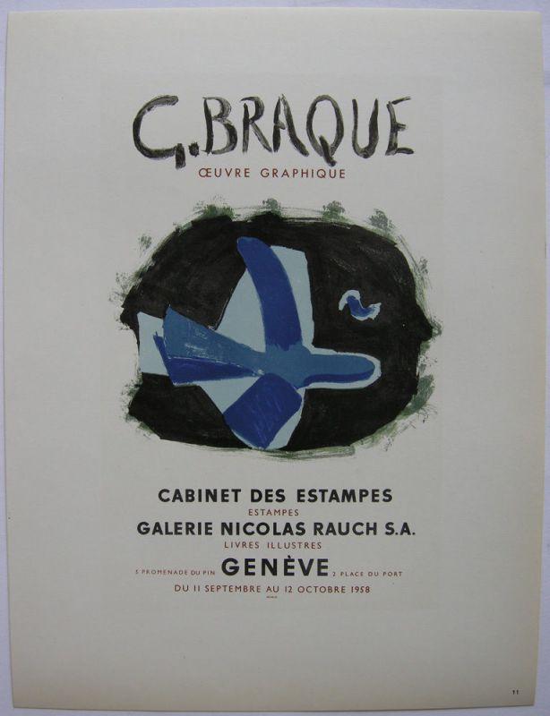 Georges Braque Oeuvre Graphique Geneve Orig Lithografie 1959 Maitres de l'Ecole