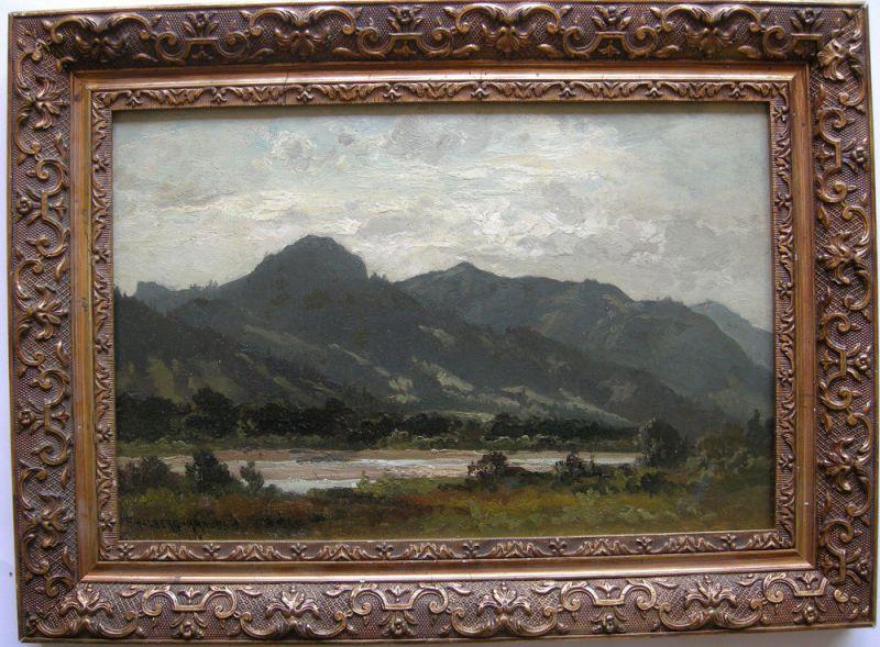 Fritz Halberg-Krauss (1874-1951) Isar bei Tölz Lengries Öl Platte 1920 signiert