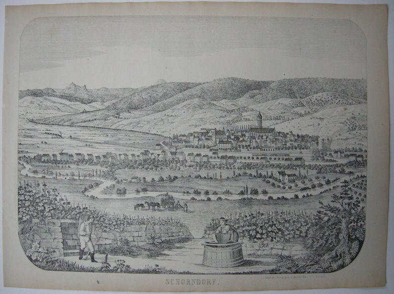 Schorndorf Gesamtansicht Orig Federlithografie 1869 Baden Württemberg
