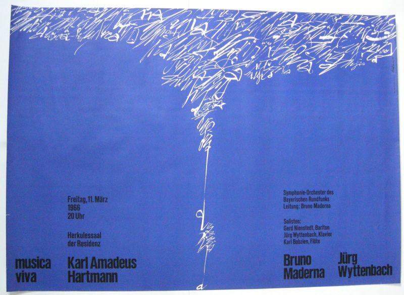 Musica viva Konzerte K. A Hartmann Orig Plakat 1967 Walter Tafelmeier Neue Musik