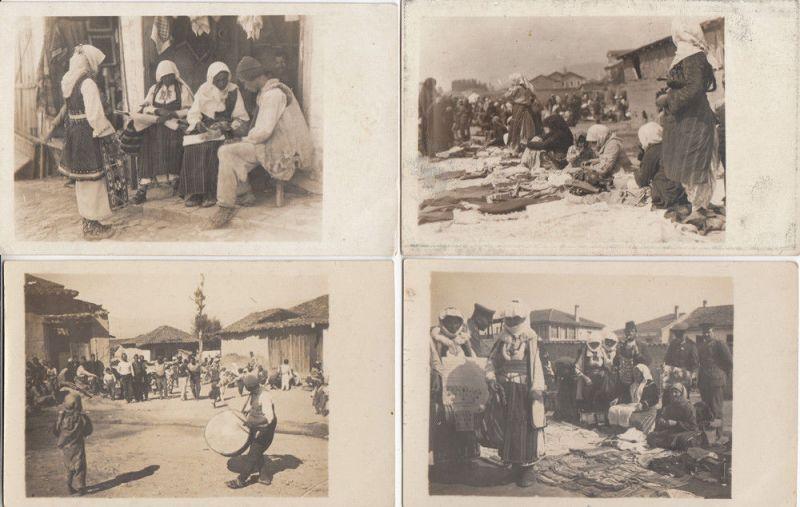 Marktszenen in Bosnien (?) 4 Fotografien um 1920