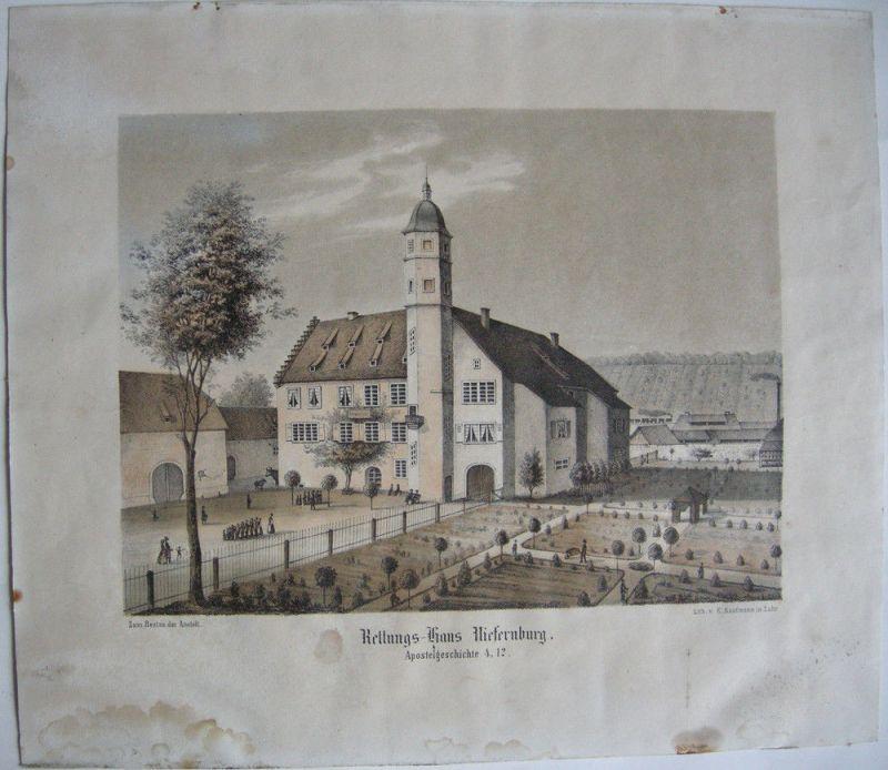 Rettungs-Haus Niefernburg Niefern-Öschelbronn Karlsruhe Orig Lithografie 1840