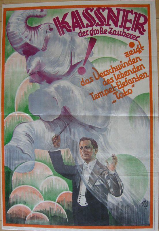 Alois Kassner (1887-1970) Zauberer Elefant Toto lithografiertes Orig Plakat 1920