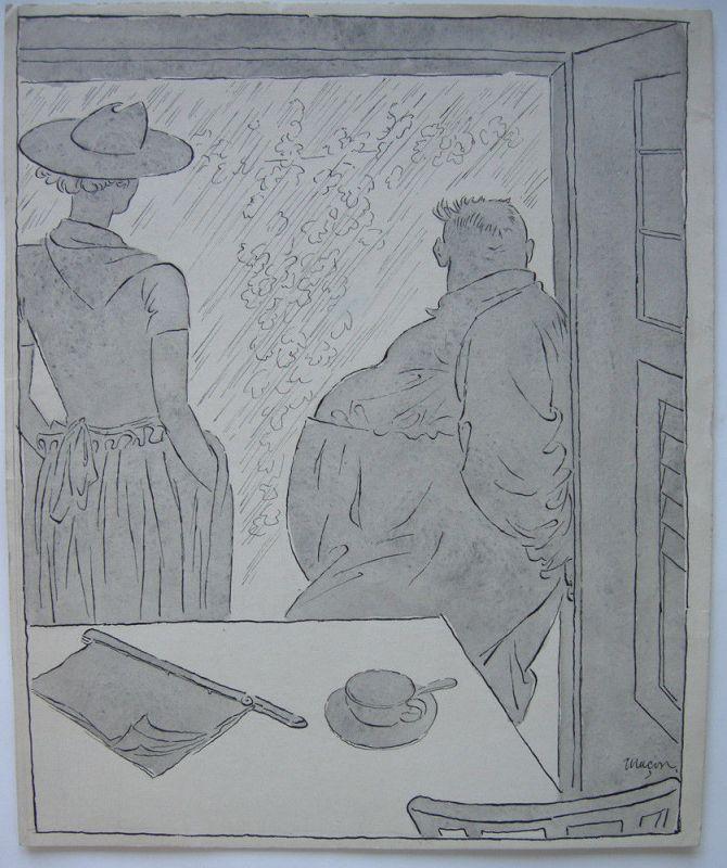 Julius Maçon Am Fester Karikatur Simplicissimus Lavierte Tuschezeichng 1910
