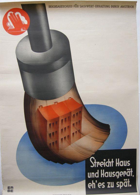 Streicht Haus und Hausgerät Plakat Lithografie 1930 Reichsausschuss Erbe