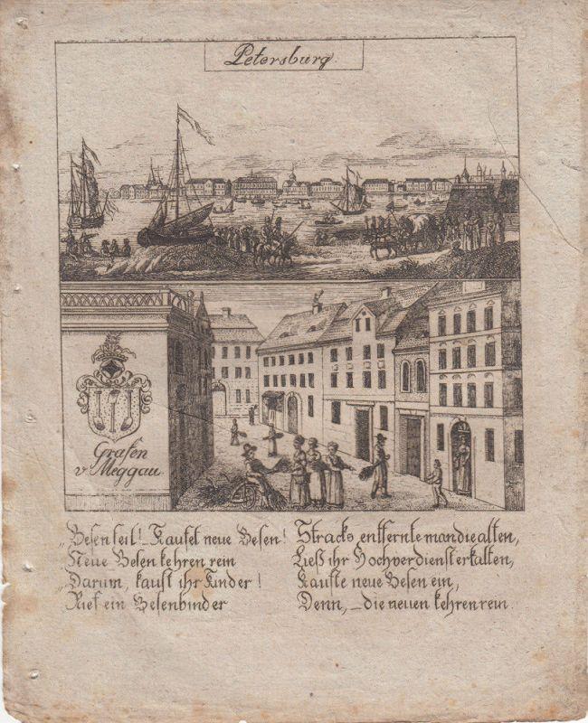 St Petersburg Russland Wappen Meggau Orig Kupferstich 1830 Zittauisches Tagebuch