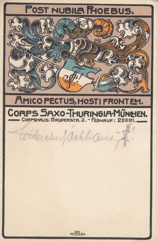 AK Studentika Corps Saxo-Thuringia-München Litho ungel 1924