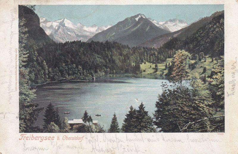 Ak Freibergsee Oberstdorf Schwaben Allgäu gel 1901 Stempel Posthilfstelle