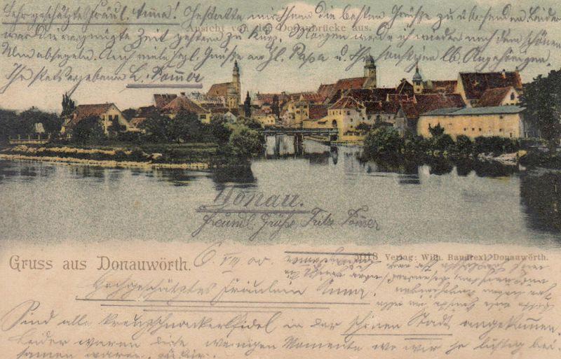 AK Donauwörth Ansicht Donau-Ufer gel 1900 Schwaben