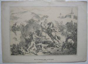 Tod General Zoller Deutscher Krieg 1866 Orig Lithografie Kraus Preußen Kissingen