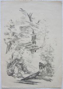 Georg W. Rössner (1885-1972) Am Flussufer Orig Lithografie signiert 1910