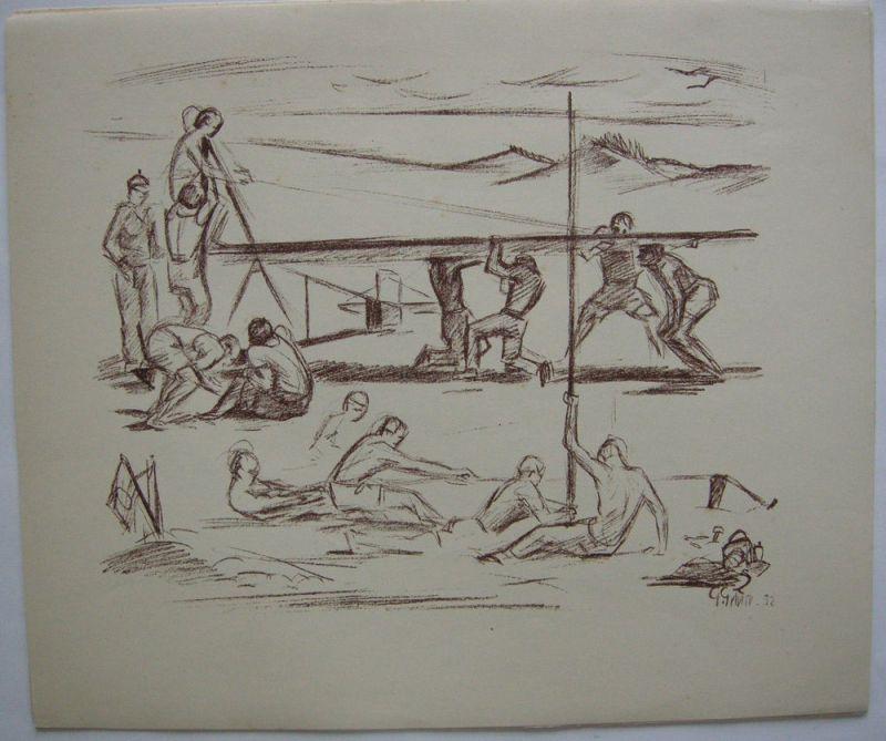 Georg Gelbke (1882-1947) Am Bau Lithografie 1932 signiert Künstlergr Chemnitz