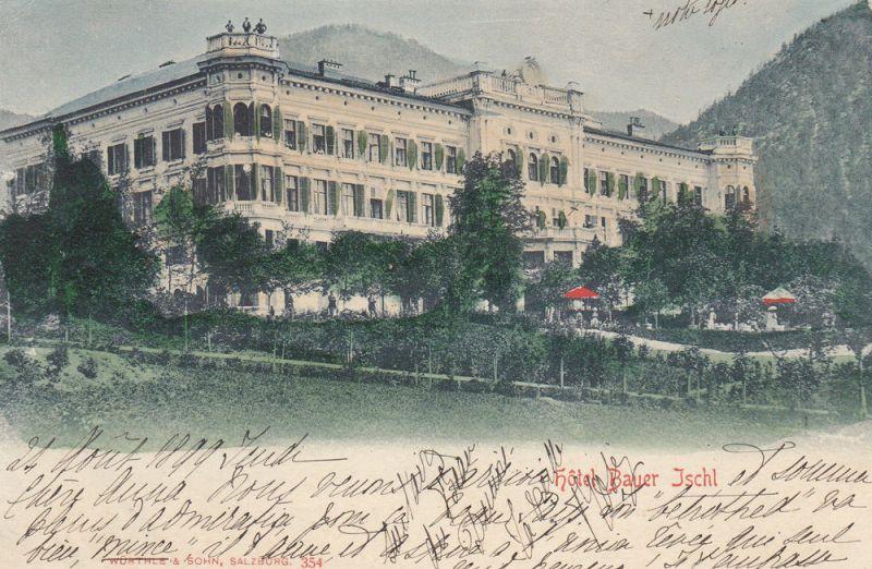 Ak Bad Ischl Hotel Bauer Salzkammergut Oberosterreich Gel 1899 Litho