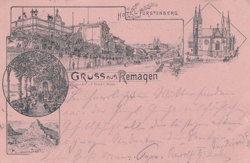AK Remagen Ahrweiler Hotel Fürstenberg Vorläuferkarte gel 1894 Rheinland Pfalz