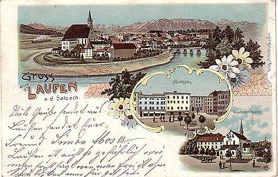 AK Laufen Salzach Berchtesgadener Land Marktplatz Kloster Litho gel 1898