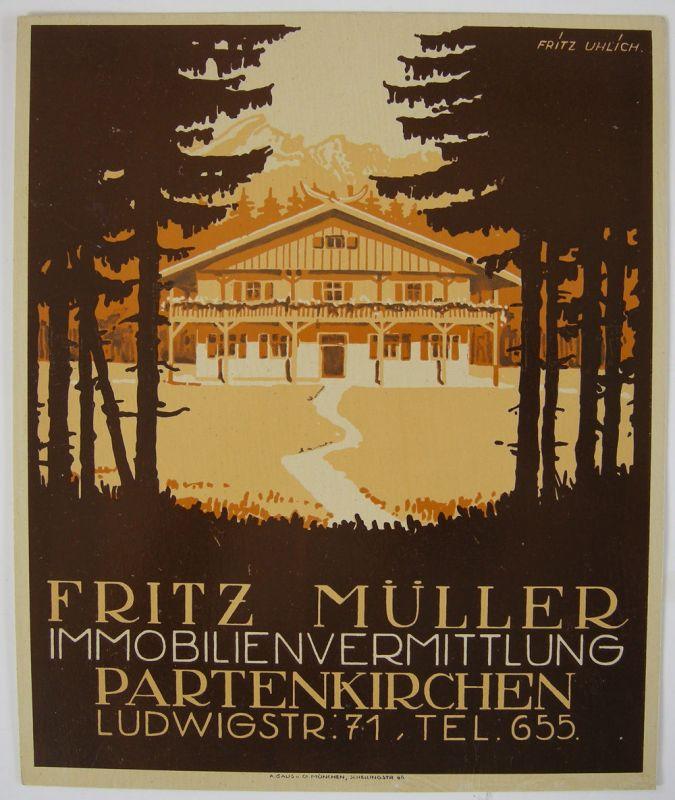 Werbeplakat Fritz Müller Immobilien Partenkirchen F. Uhlich Chromolithogr 1935
