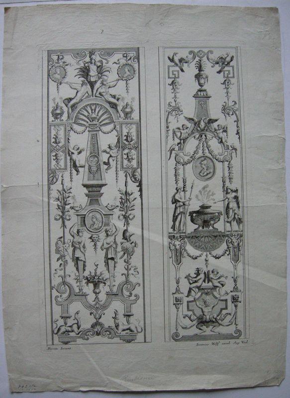 Ornamentstich 2 Paneele Orig Kupferstich I. Wolff nach J Berain 1700 Embleme