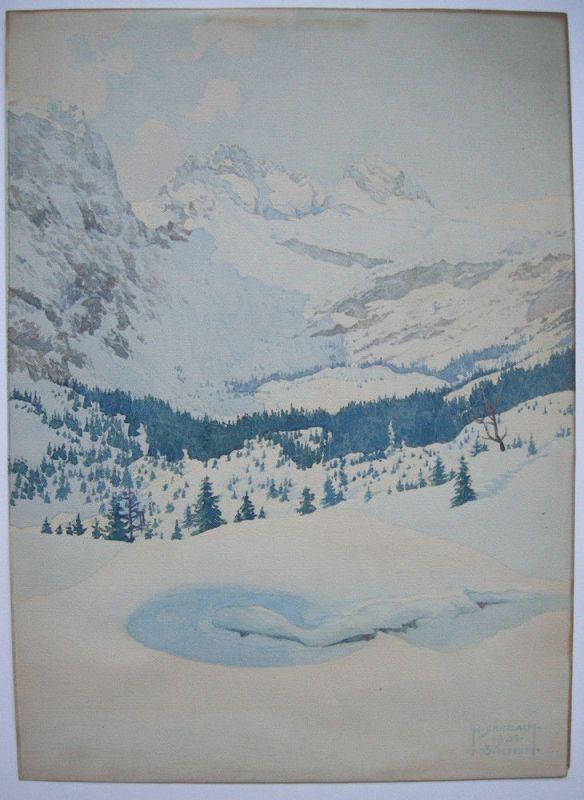 Heinrich Seebach (XIX-XX) Verschneite Alpenlandschaft Orig Aquarell signiert