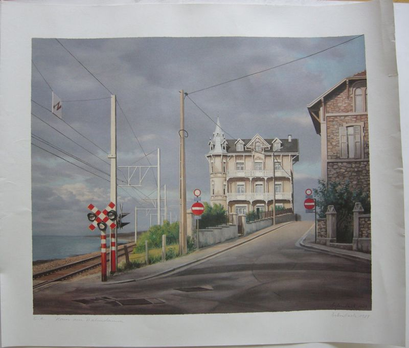 Clemens Erlenbach (1945) Haus am Bahndamm Farbdruck 1989 signiert Probedruck