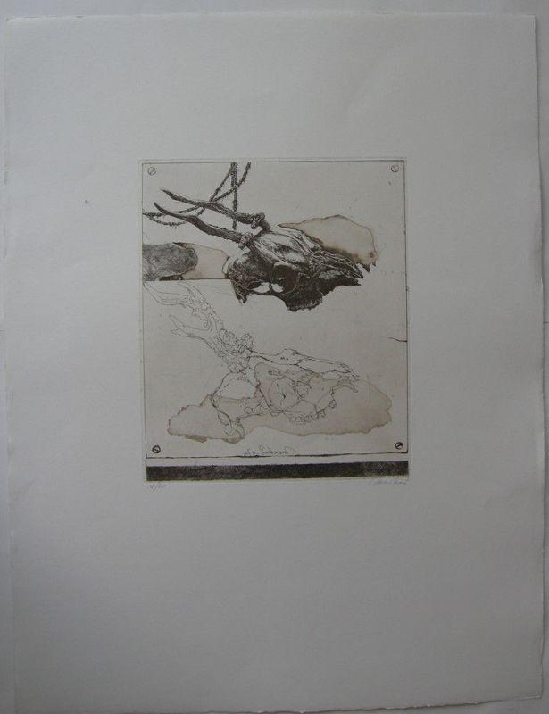 Markus Vallazzo (1936) Jagdtrophäe Rehschädel Orig Radierung 1974 signiert