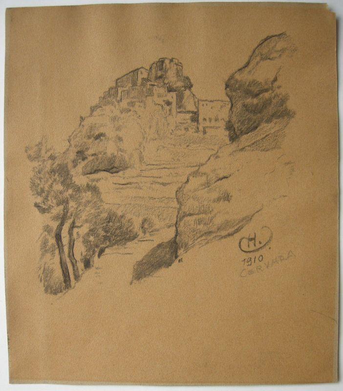 Hermann Urban (1866-1946) Cervara di Roma Orig Kohlezeichnung signiert 1910