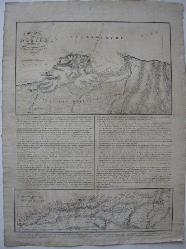 Umgegend von Algier Al Djezair orig. Lithografierte Karte C. Brügner 1830 Afrika