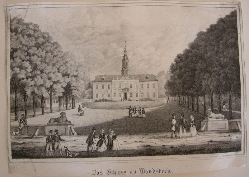 Hamburg Das Schloss zu Wandsbeck Orig Lithografie 1850 Behrendson