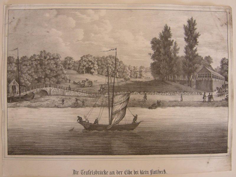 Hamburg Flottbeck Teufelsbrücke Elbe Orig Lithografie 1850