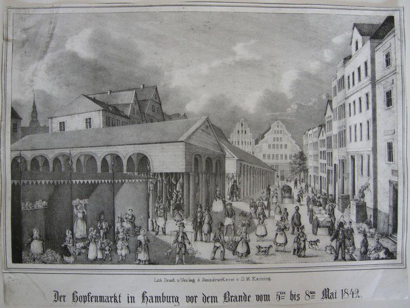 Hamburg Hopfenmarkt vor dem Brande 1842 Orig Lithografie 1850