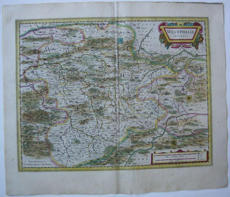 Herzogtum Westfalen altkolor Orig Kupferstichkarte Janssonius 1627 Nordrhein