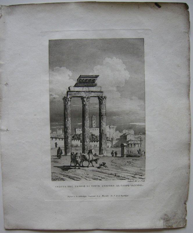 Louis-P Baltard (1764-1846) Tempio di Giove Statore Orig Aquatinta 1806 Italia