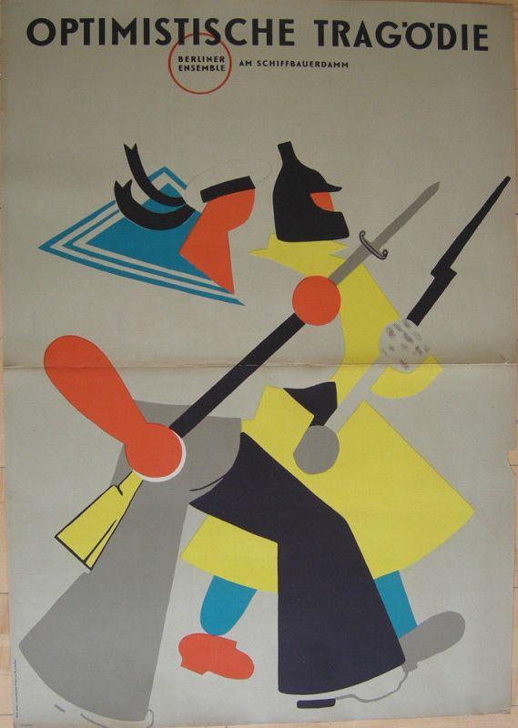 Plakat Berliner Ensemble Schiffbauerdamm Lebedev Lithografie 1958 Theater