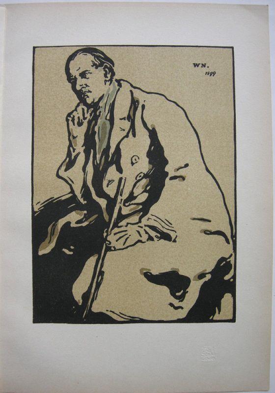 William Nicholson (1872-1949) Portrait James Pryde Orig Lithografie 1901