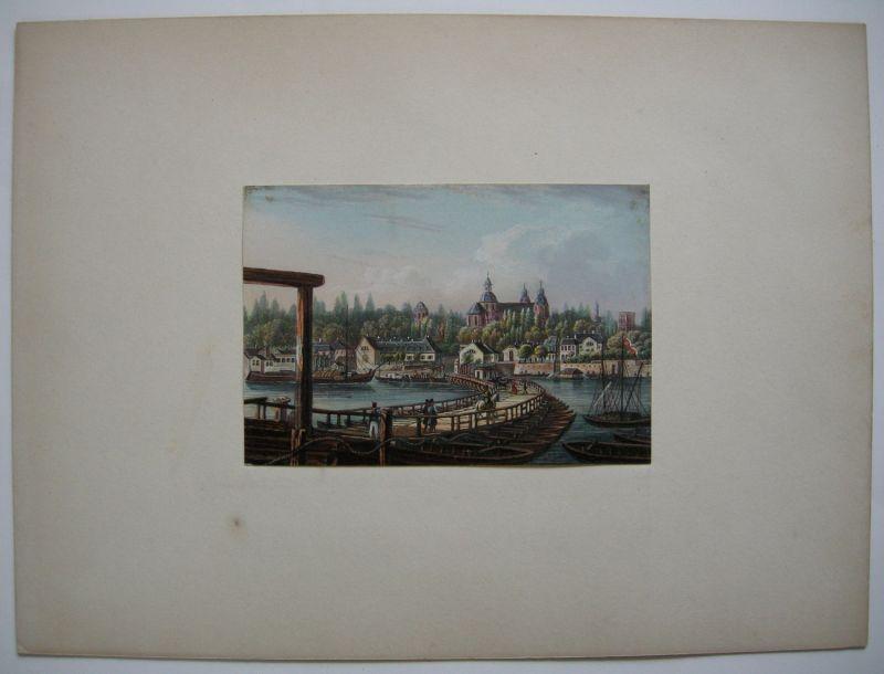 Mannheim Neckarufer Jesuitenkirche altkolor Stahlstich Buhl Dielmann 1840 Jügel