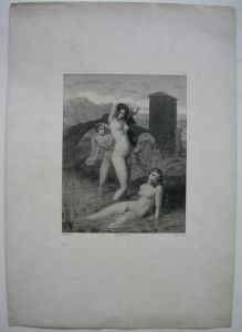 L'Eté Der Sommer Weibliche Akte Orig. Lithographie 1880 J.-L. Gerome