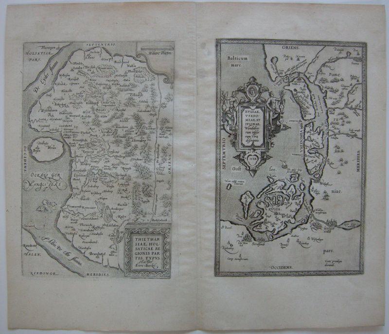 Dithmarschen Rügen Usedom Wolgast Kupferstichkarte Ortelius 1590 Polen