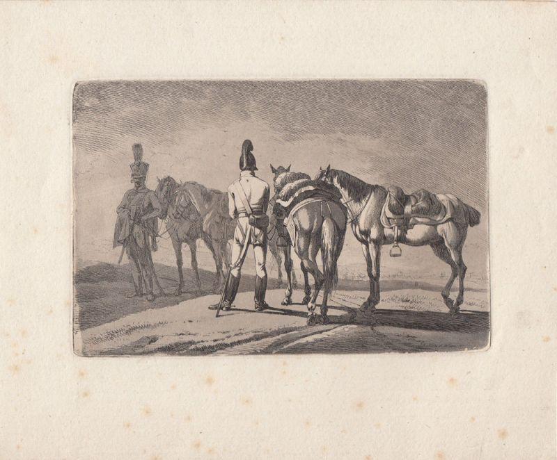 Johann Adam Klein (1792-1875) Offiziere Pferde Orig Aquatinta 1812 plattensign