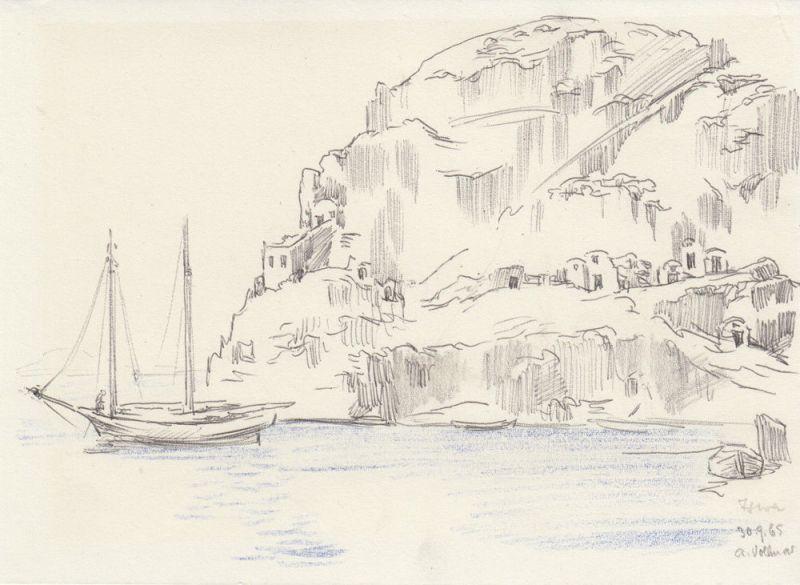 Alfred Vollmar (1893-1980) Ischia Italia Orig Bleistiftzeichnung signiert 1965