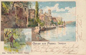AK Passau Niederbayern Innquai Angler Künstlerkarte gel 1901 Litho