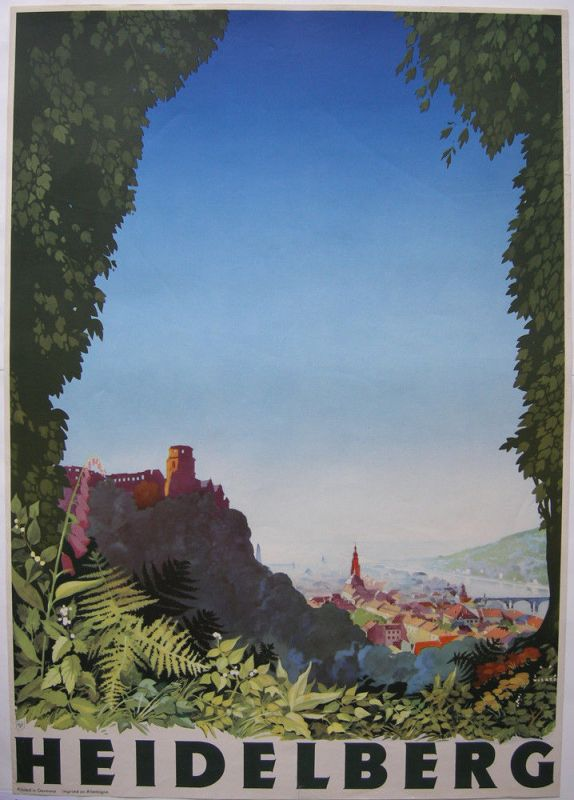 Jupp Wiertz (1888-1939) Plakat Heidelberg Farboffset 1930 Reklame