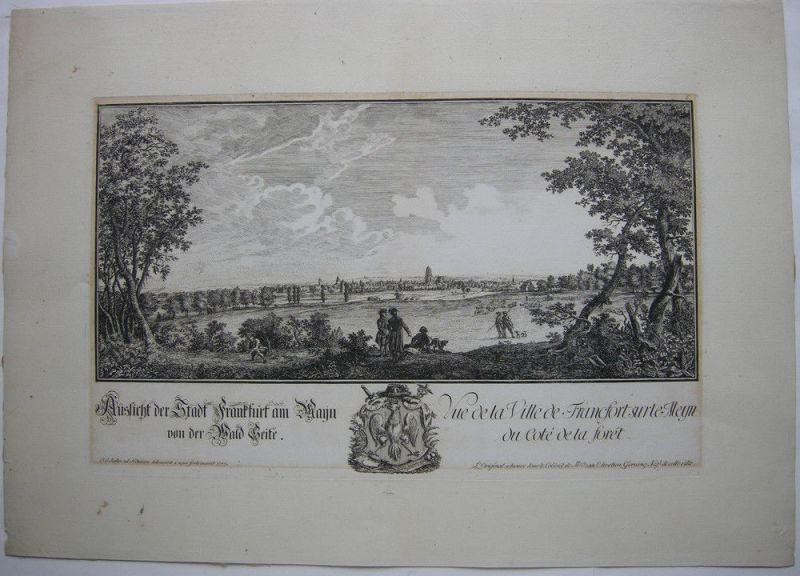 Joh Jak Koller (1746-1806) Frankfurt von der Wald Seite Orig Radierung 1777