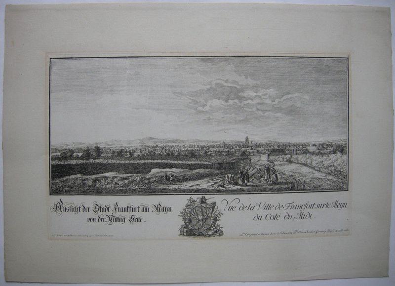 Joh Jak Koller (1746-1806) Frankfurt Mittag Seite Orig Radierung 1777